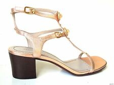 new MARC JACOBS copper leather TURNLOCK logo T-strap GLADIATOR sandals shoes