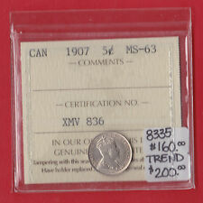 1907 Canada Silver Five Cent Coin ICCS Mint State MS 63 8335 Trend $200 MR
