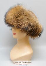 Raccoon Fur Roller Hat w/ Sheared Beaver top Pelzmütze Chapka Fellmütze Waschbär