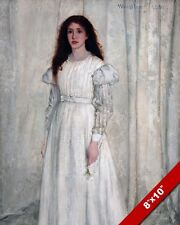 THE WHITE GIRL IN DRESS GOWN BY JAMES M WHISTLER PAINTING ART REAL CANVAS PRINT