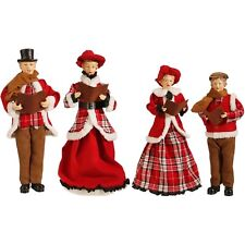 "SET of 4 VICTORIAN CAROLERS Country Plaid 18"" Christmas Raz 3700772"