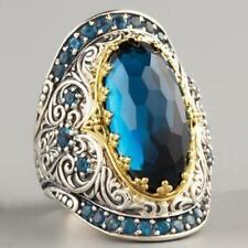 Luxuxfrauen blau Strass Ring Skulptur Kristall weiblichen Ehering Schmuck A1R2