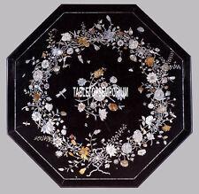 36'' Black Marble Octagon Dining Table Tp Pietradura Stone Inlay Furniture Decor