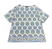 New, $37 Value! KAREN SCOTT 3X Aqua Scroll Boat Neck Rolled Cuff Knit Top
