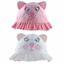 Baby Sun Hat Girls Toddler Summer Cotton Bucket Animal Cat With Ears 9 M - 4 Yrs