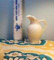 "Belleek Ireland ivory creamer pitcher yellow mark 4"" tall shell pattern"