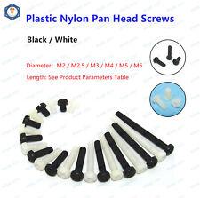 M2 M2.5 M3 Black & White Plastic Nylon Phillips Cross Round Pan Head Screws