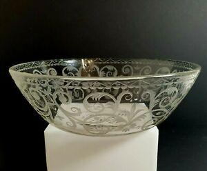 Antique LOBMEYR Austrian BAROCK / Viennese BAROQUE Engraved Glass Bowl Signed