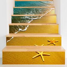 Realistic 3D Ocean Beach Design Coas Self-adhesive Stair Wallpaper Sticker Decal