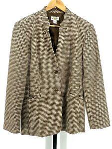 Talbots Size 14 Brown 100% Wool Blazer Jacket EUC (S1481-J1)