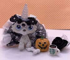 Authentic Littlest Pet Shop # 363 Spooky Gray Collie Blue Eyed Unicorn Outfit