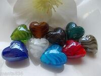 10 Lampwork Perlen 20mm  Glas Perle Herz Schmuck herstellen DIY
