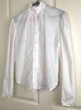 Vintage Gunne Sax Jessica McClintock Women's Large Cotton White L/S Blouse Lace