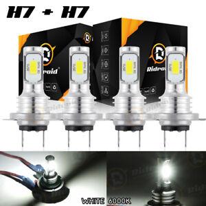 4x H7 Super White CSP LED Headlight Fog DRL Bulbs Kit High Low Beam 6000K White