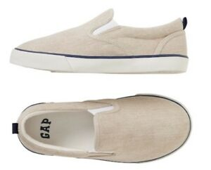 New Canvas Slip-On Sneakers  Loafers Boys Shoes Khaki Beige 13 1 2 3