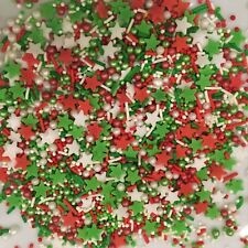 CHRISTMAS SPRINKLE MIX 100g Edible Confetti,Pearls & Strand Mix, RED GREEN WHITE