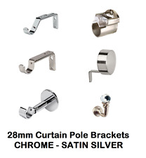 Curtain Pole Brackets to fit 28mm Diameter Poles, Various Styles & Tiebacks..