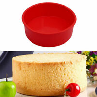 """6"""" Round Silicone Cake Mold Pan Muffin Pizza Pastry Baking Tray Mould Bakeware Q"""