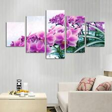 5-Panel Modern Artwork Canvas Wall Decorative Orchid Paintings 20x30/40/50cm