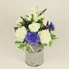 Accordo di rose di seta nel BIDONE DI ZINCO, fatto a mano fiori artificiali in vaso