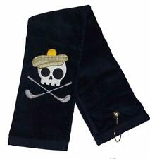 New Black Embroidered 100% Cotton Terry Tri-Fold Hemmed Skull Golf Towel