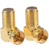 1Pc Copper F Male Plug to F Female Jack Right Angle Adapter 90 Degree Coax G3