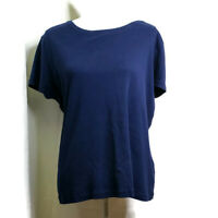 St. Johns Bay Womens Top Size XL Blue Short Sleeves Crew Neck Cotton