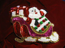 Large Christmas Santa In Sleigh Sequin Beaded Applique 2535-J
