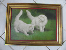 Antique Painting 2 Angora Cat Cats play with Bee Hungarian Painter signed