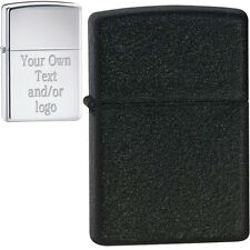 Custom Engraving, YOUR TEXT or LOGO - Black Crackle™ Zippo® Lighter, Made in USA