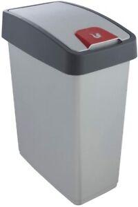 keeeper Premium Abfallbehälter mit Flip-Deckel, Soft Touch, 25 l, Magne, Silber