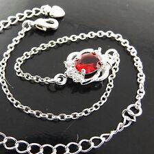 Ruby Flower Style Bracelet Anklet Fsa233 Genuine 925 Sterling Silver Classic