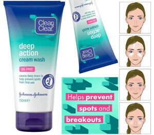 Clean and Clear Deep Action Oil-Free Cream Face Wash, Help Prevent Spots, 150ml