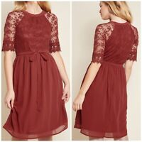 ModCloth Your Intention, Please A-Line Dress Red Size XXS NWOT Lace Sheer Floral