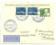 SWEDEN 1937  SPEC FLIGHT COVER STOCKHOLM- OSLO  VF