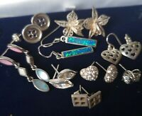 Good Lot of  9 Pairs of Mixed  Sterling Silver Earrings,
