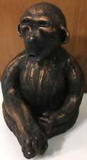 Vintage Hand Made Etched Painted Pottery Speak No Evil Monkey Figurine Heavy