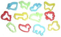 12 PLASTIC DOUGH COOKIE CUTTERS ASSORTED ANIMAL & TRANSPORT PLAY SHAPES 9000CUT
