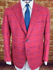 COPPLEY Sport Coat Jacket, 42R, SURGEON'S CUFFS, Red & Blue, VERY COOL LINING!