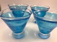 SET OF 4 VINTAGE AQUA BLUE BLOWN BUBBLE GLASS COSMOPOLITAN GLASSES PRISTINE