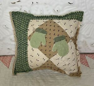 NEW Handmade Christmas Mittens Pillow Vintage Quilt Chenille Bedspread Adorable