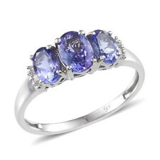 Splendido 9k W ORO TANZANITE (OVL 0.75 ct), Anello di diamanti 1.830 CT misura T