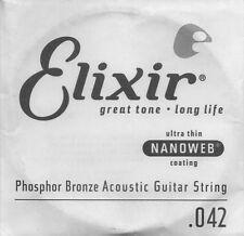 ELIXIR Cordes à l'unité Nanoweb Phospor bronze Guitare Acoustique 042