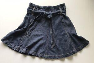 Banana Republic Belted Fit Flare Denim Skirt 0 Petite