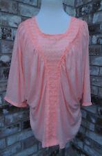 Victoria's Secret Light Coral Pink Dolman Batwing Lace Shirt Top Blouse M