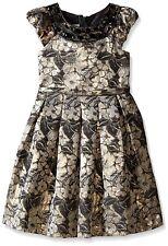 Girls 2T-16 Gold/Black Floral Metallic Brocade Waistline Social Party Dress