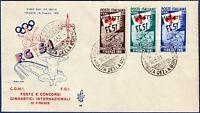 """AMG-FTT - 1951 - """"Ginnici"""" - F.D.C. VENETIA - non viaggiata - Sassone nn.116/118"""