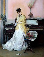 The Bouquet by Spanish Raimundo de Madrazo. Canvas Music. 11x14 Print