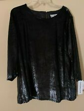 Caroline Rose Black Shiny Shimmer Lurex Blouse Top $248 XL
