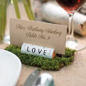6 Rustic Love Resin Log Wedding Place Card Photo Holders Favors